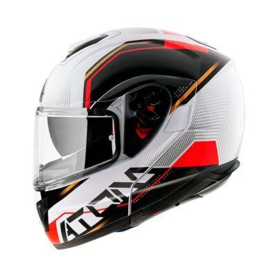 MT Helmets Atom SV Quark B5 Fekete Fehér Piros Felnyitható Motoros Bukósisak