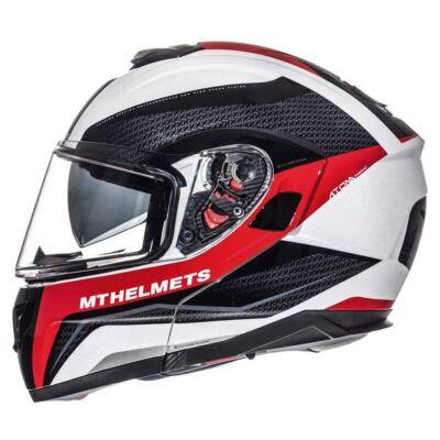 MT Helmets Atom SV Tarmac Fényes Fekete/Piros Felnyitható Motoros Bukósisak