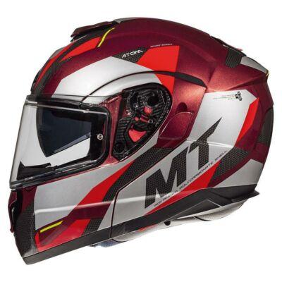MT Helmets Atom SV Transcend F5 Fényes Piros Felnyitható Motoros Bukósisak
