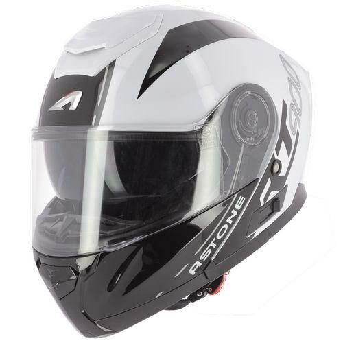 Astone Rt900 Stripe, Felnyitható motoros bukósisak, Fehér/Fekete