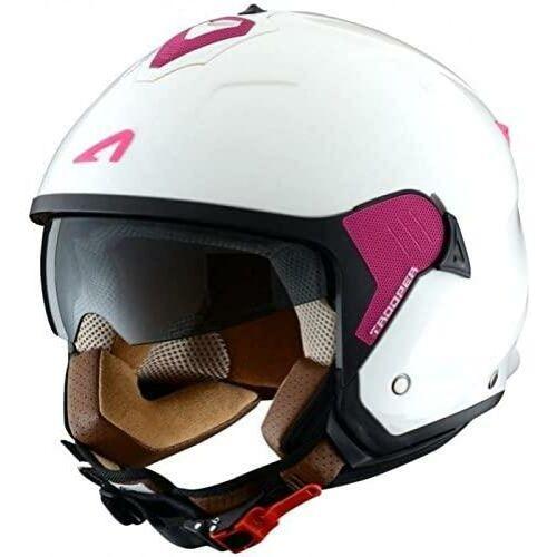 Astone Minijet Trooper Fehér/Pink Nyitott Motoros Bukósisak (OUTLET)