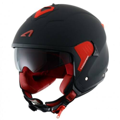 Astone Minijet Trooper Fekete/Piros Nyitott Motoros Bukósisak (OUTLET)