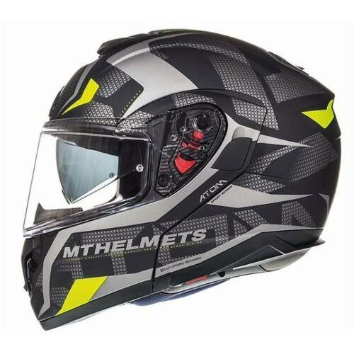 MT Helmets Atom SV Divergence F1 Matt Szürke/Neonsárga Felnyitható Motoros Bukósisak (OUTLET)