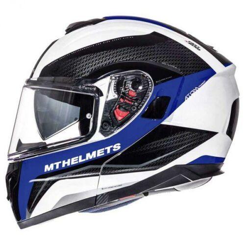 MT Helmets Atom SV Tarmac Fényes Fekete/Kék Felnyitható Motoros Bukósisak (OUTLET)