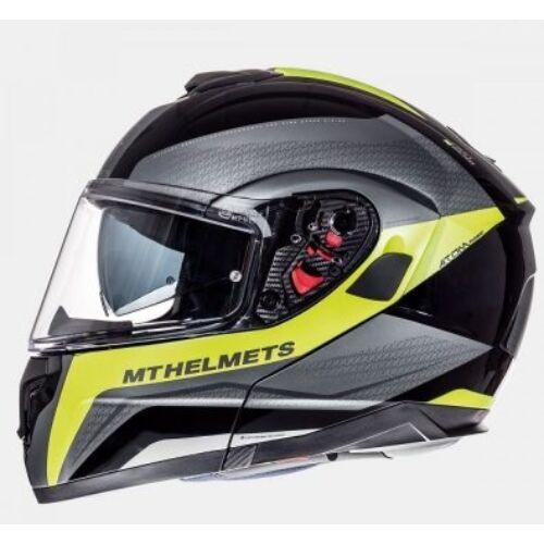 MT Helmets Atom SV Tarmac Matt Fekete/Fényes Neonsárga Felnyitható Motoros Bukósisak (OUTLET)